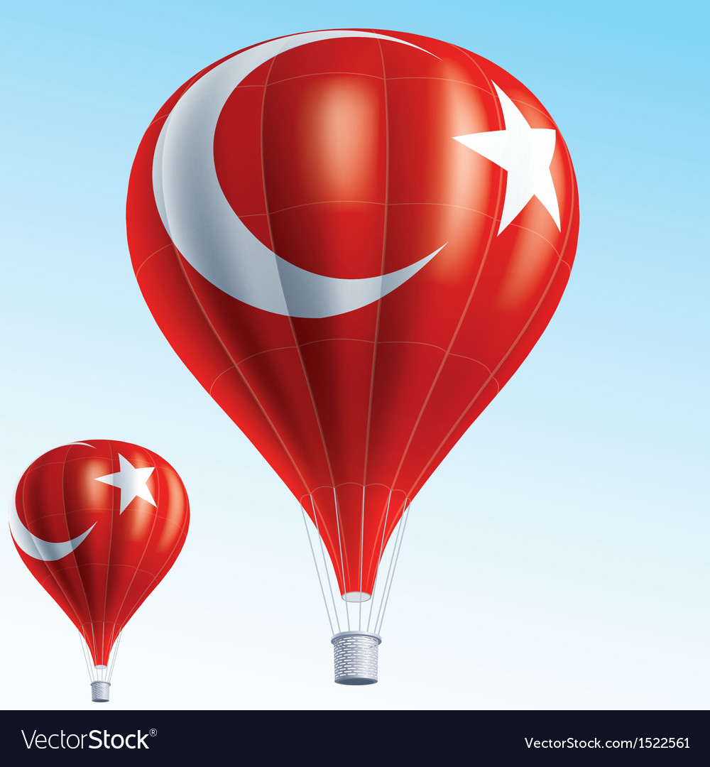 Hot balloons painted as turkish flag vector | Price: 3 Credit (USD $3)