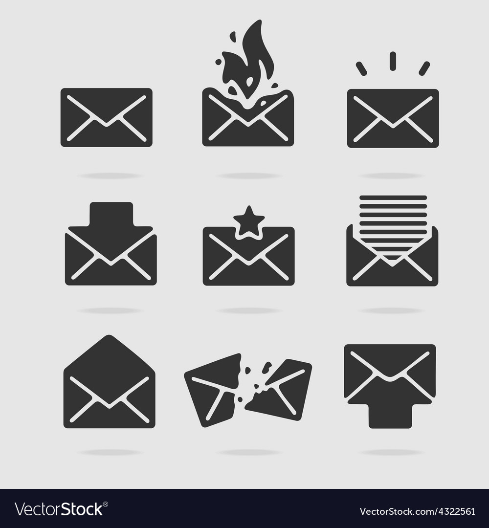 Icon set mail vector | Price: 1 Credit (USD $1)