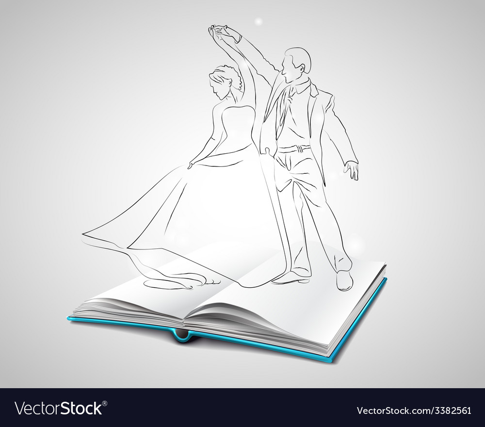 Open book with a blue cover about dancing vector | Price: 1 Credit (USD $1)