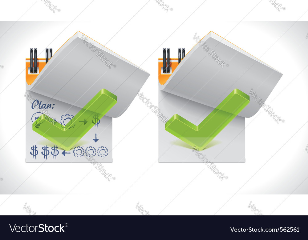 Open notepad with check mark xxl icon vector | Price: 1 Credit (USD $1)