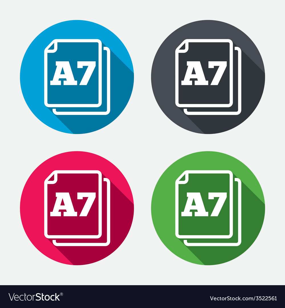 Paper size a7 standard icon document symbol vector | Price: 1 Credit (USD $1)