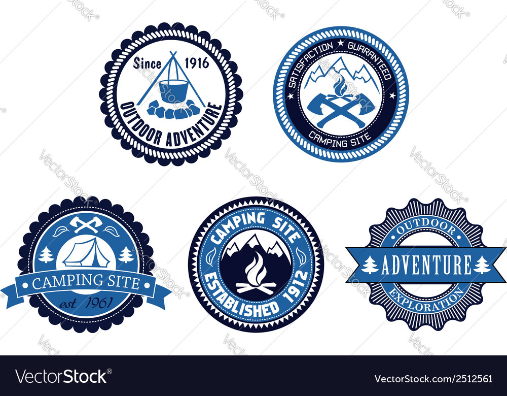 Set of outdoor adventure and camping emblems vector | Price: 1 Credit (USD $1)