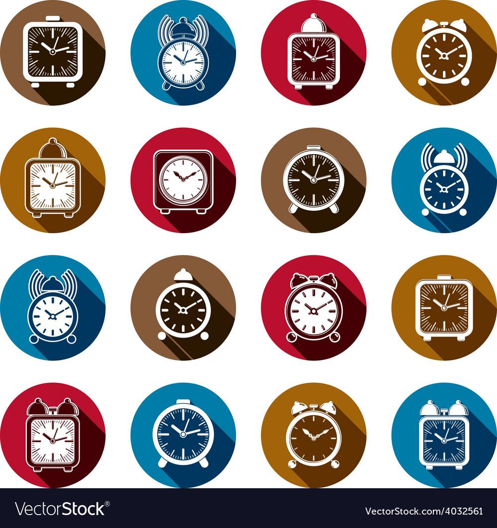 Simple alarm clocks with clock bell decorative vector | Price: 1 Credit (USD $1)
