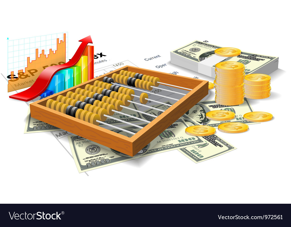 Wooden abacus bills and coins vector | Price: 3 Credit (USD $3)
