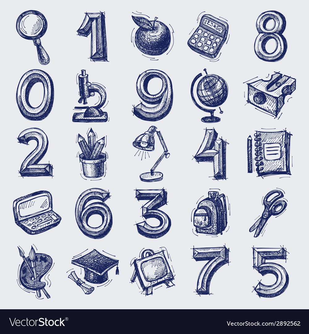 25 sketch education icons vector | Price: 1 Credit (USD $1)