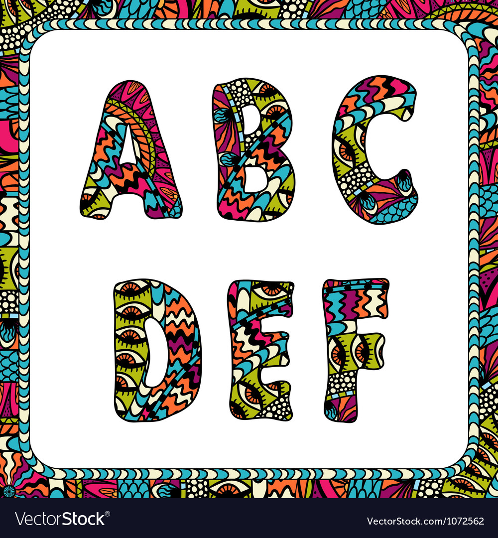 A b c d e f letters of alphabet with ethnic motifs vector | Price: 1 Credit (USD $1)