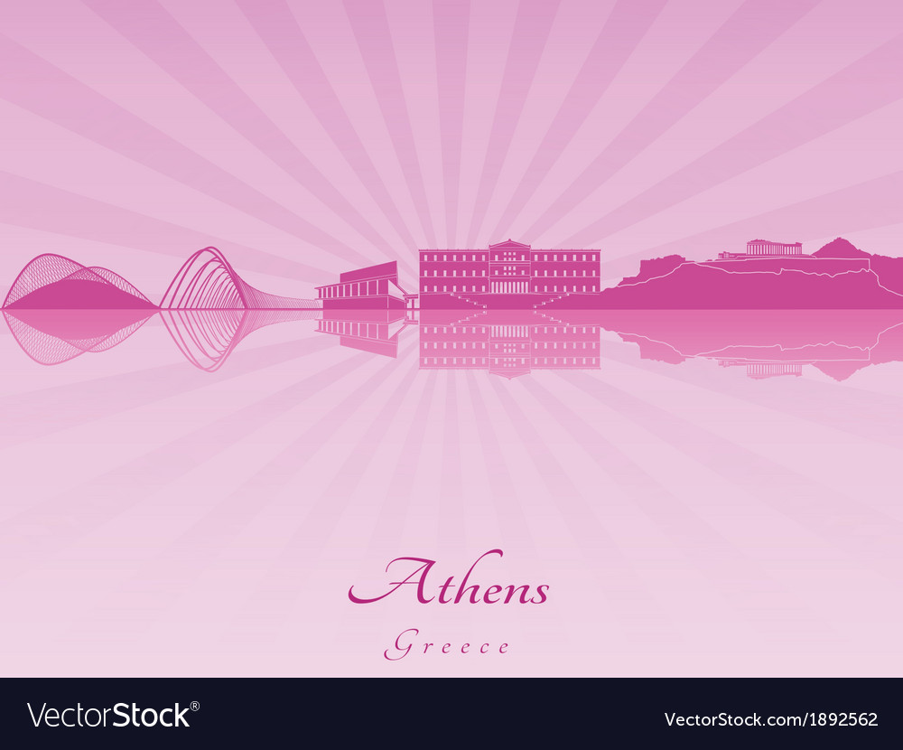 Athens skyline in purple radiant orchid vector | Price: 1 Credit (USD $1)