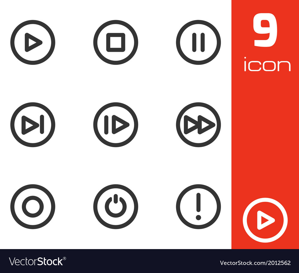 Black media buttons icons set vector | Price: 1 Credit (USD $1)