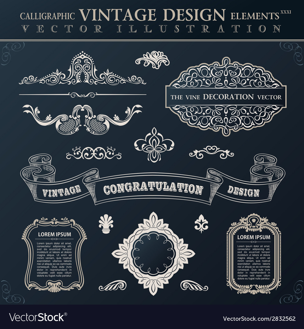 Calligraphic black elements vintage congratulation vector | Price: 1 Credit (USD $1)