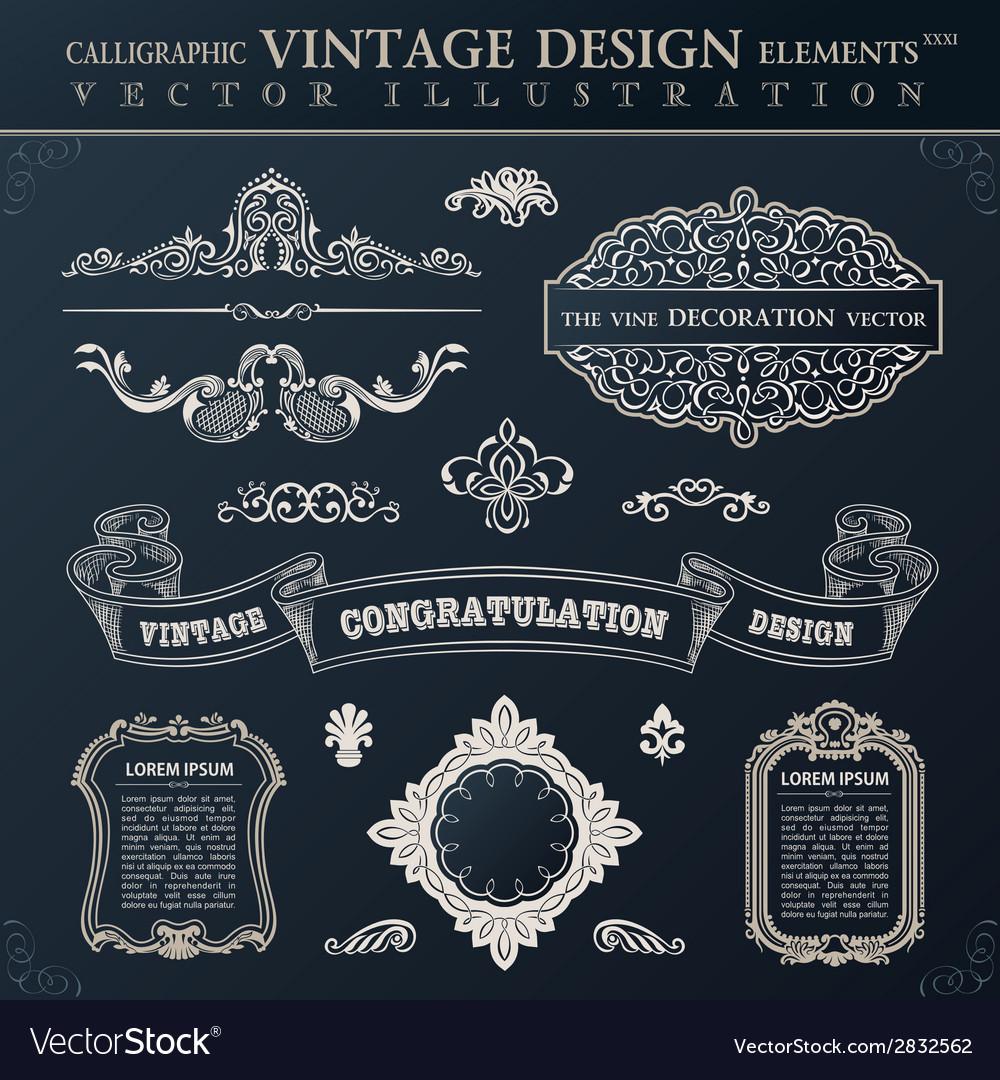 Calligraphic black elements vintage congratulation vector | Price: 1 Credit (USD $1)