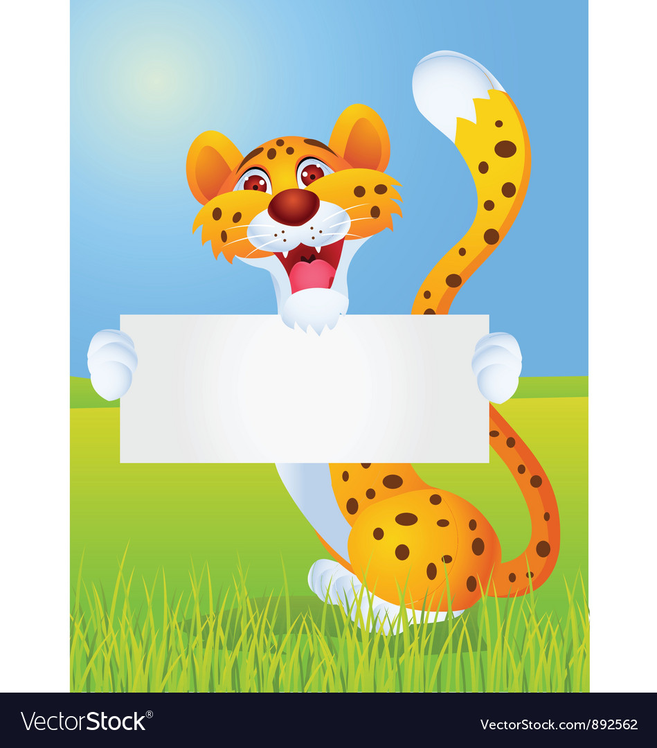 Cheetah cartoon with blank sign vector | Price: 1 Credit (USD $1)