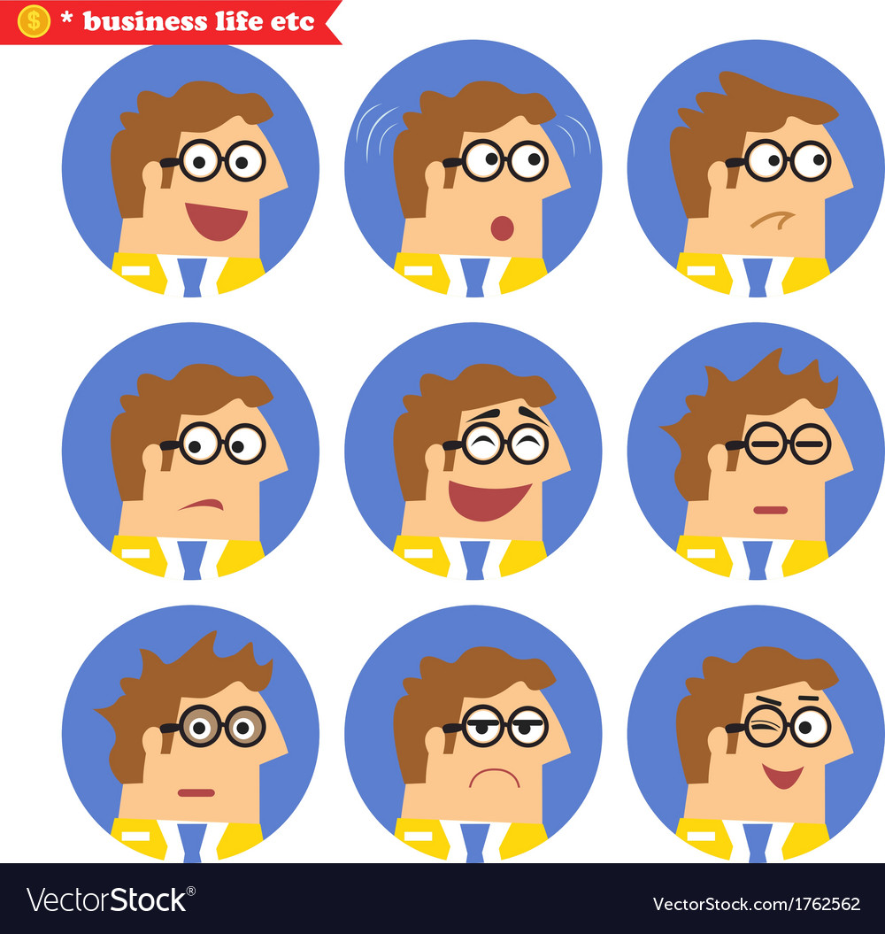 Employee facial emotions vector | Price: 1 Credit (USD $1)