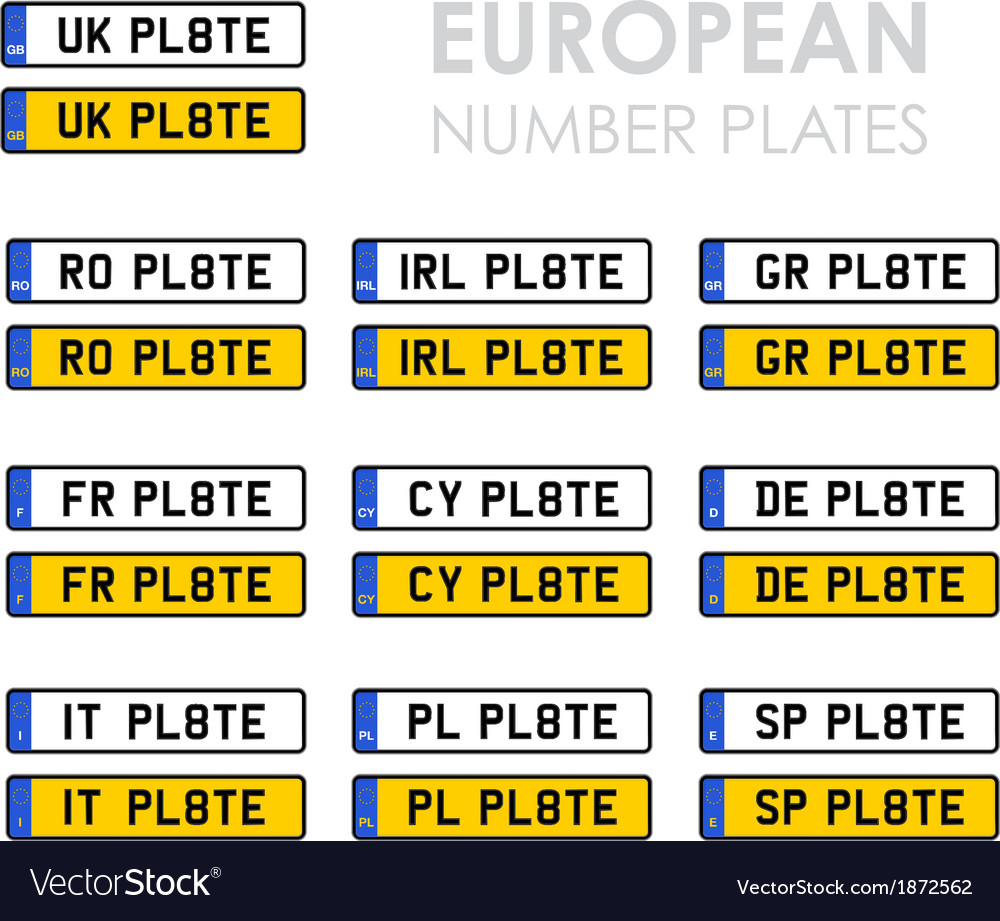 European number plates vector | Price: 1 Credit (USD $1)