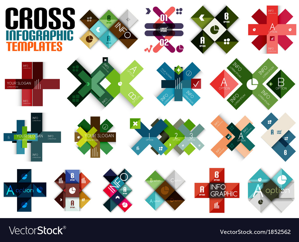 Huge set of cross infographic templates 2 vector | Price: 1 Credit (USD $1)