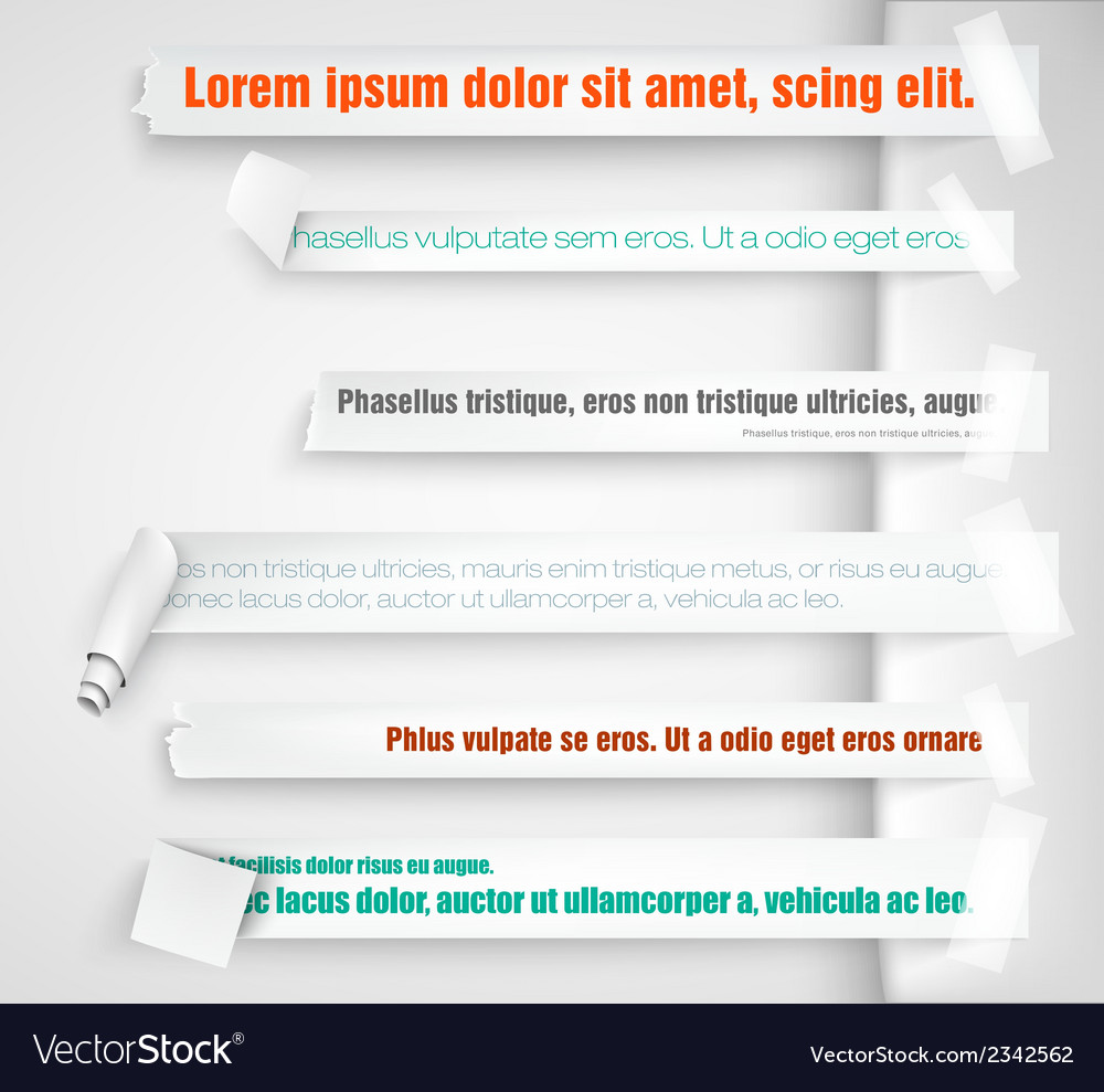 Paper bookmarks for text pieces vector | Price: 1 Credit (USD $1)