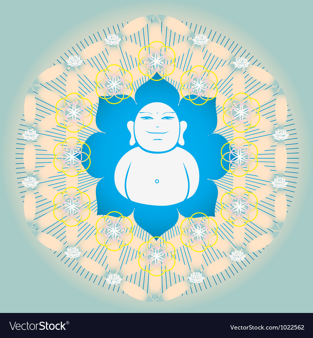 Sacred geometry flower of life blue lotus vector | Price: 1 Credit (USD $1)