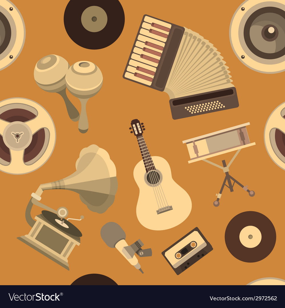 Seamless pattern musical instruments vector | Price: 1 Credit (USD $1)