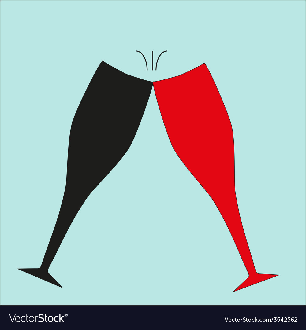 Two wine glasses chin-chin vector | Price: 1 Credit (USD $1)