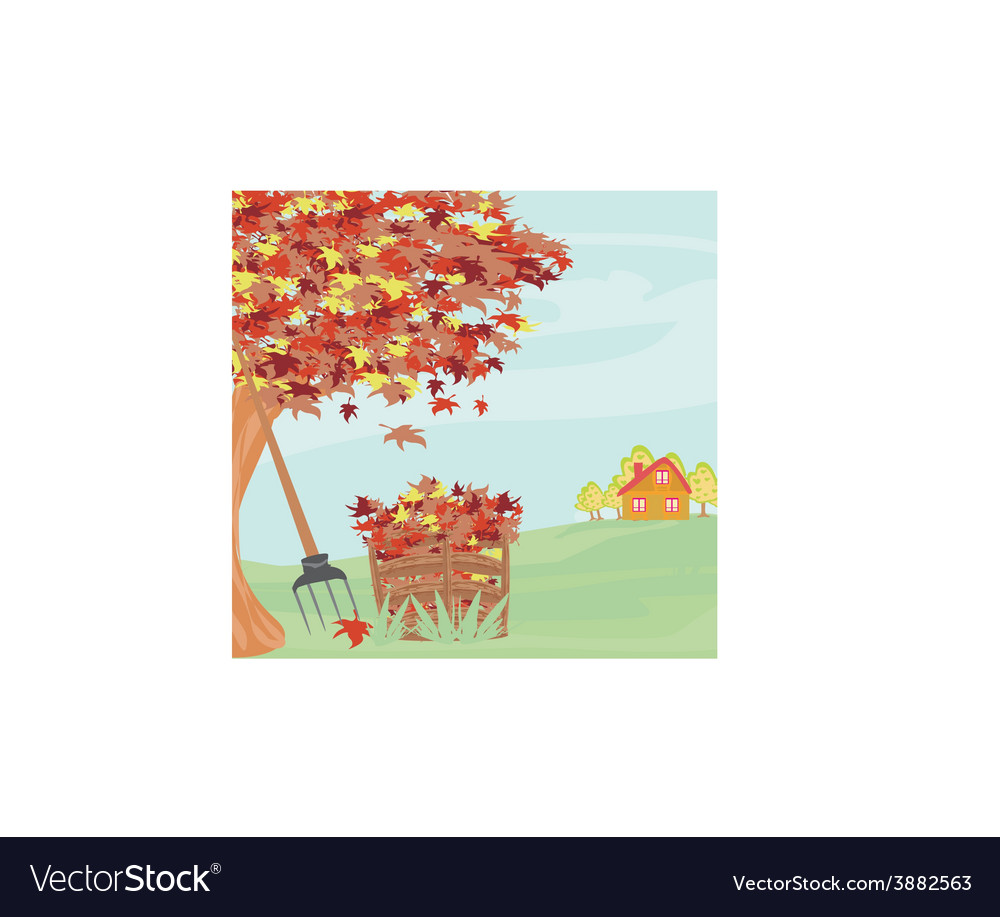 Autumn rural landscape vector | Price: 1 Credit (USD $1)