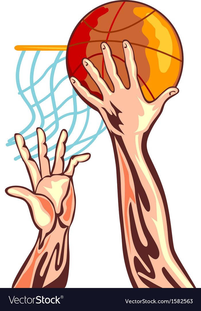Basketball hands retro vector | Price: 1 Credit (USD $1)