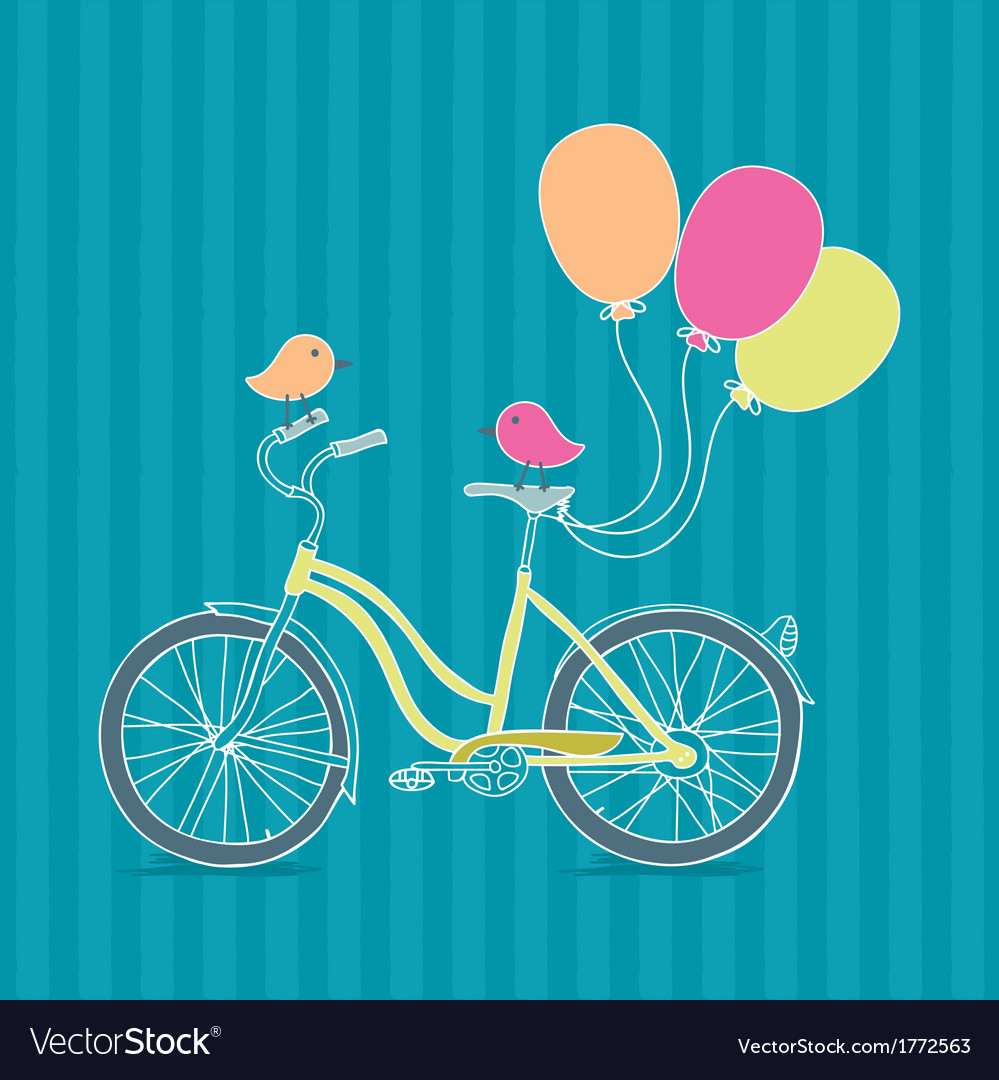 Bicycle balloons and birds vector   Price: 1 Credit (USD $1)