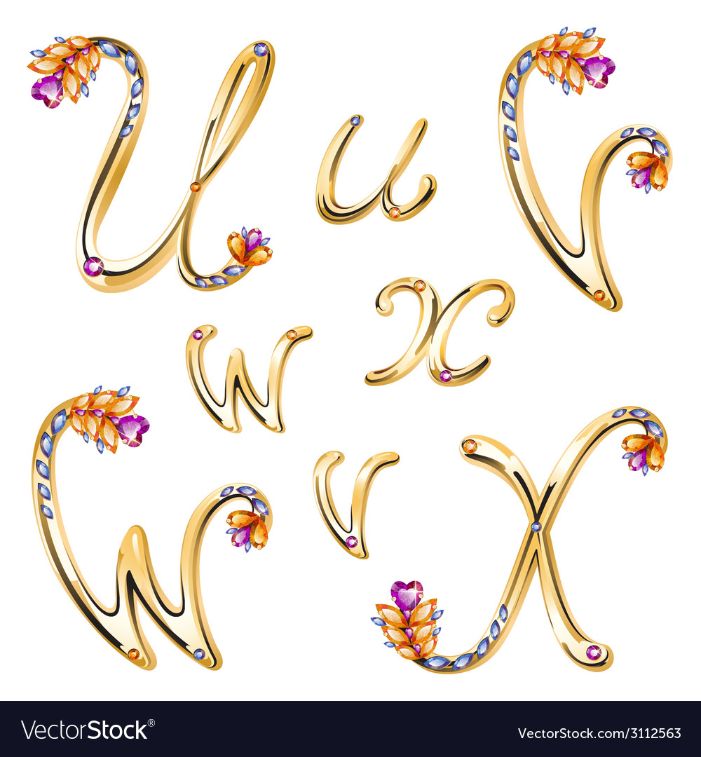 Bronze alphabet with colored gems letters uvwx vector | Price: 1 Credit (USD $1)