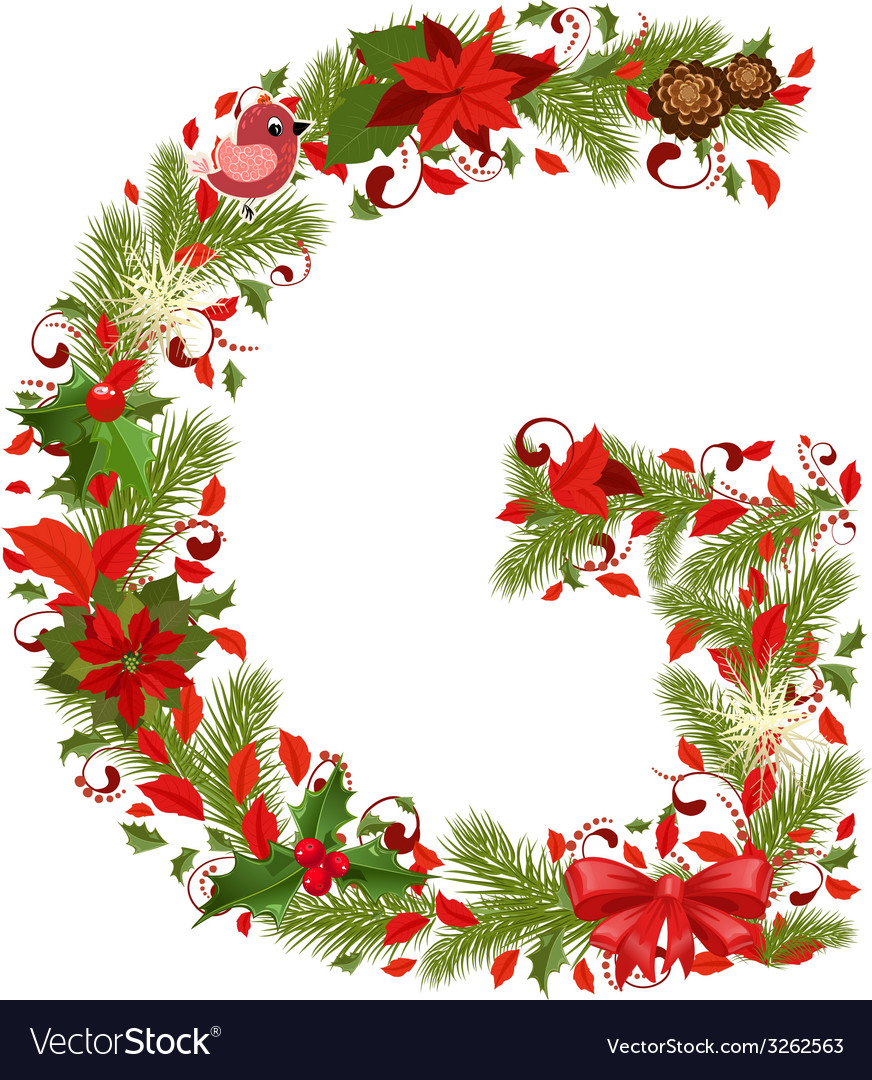 Christmas floral tree letter g vector | Price: 1 Credit (USD $1)
