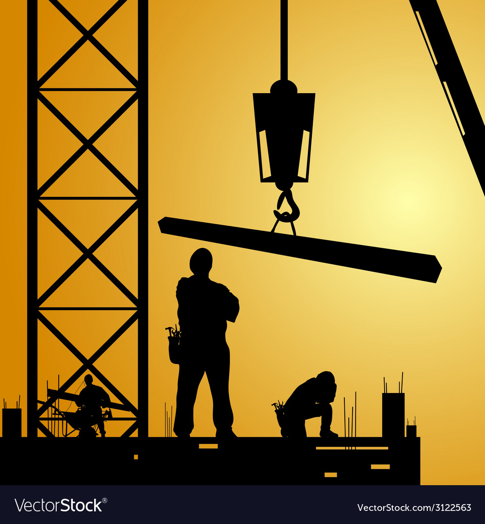 Constuction worker at work with crane vector | Price: 1 Credit (USD $1)