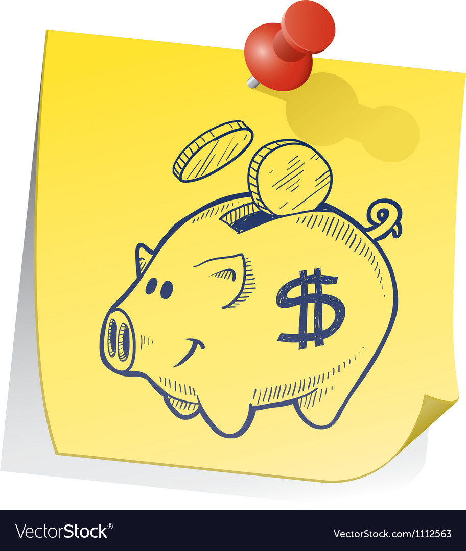 Doodle sticky note piggy bank vector | Price: 1 Credit (USD $1)
