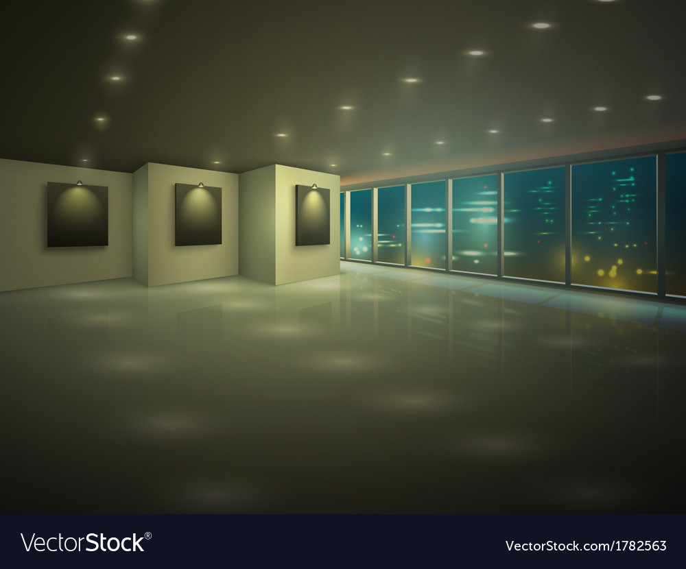 Empty illuminated apartment at night vector | Price: 1 Credit (USD $1)