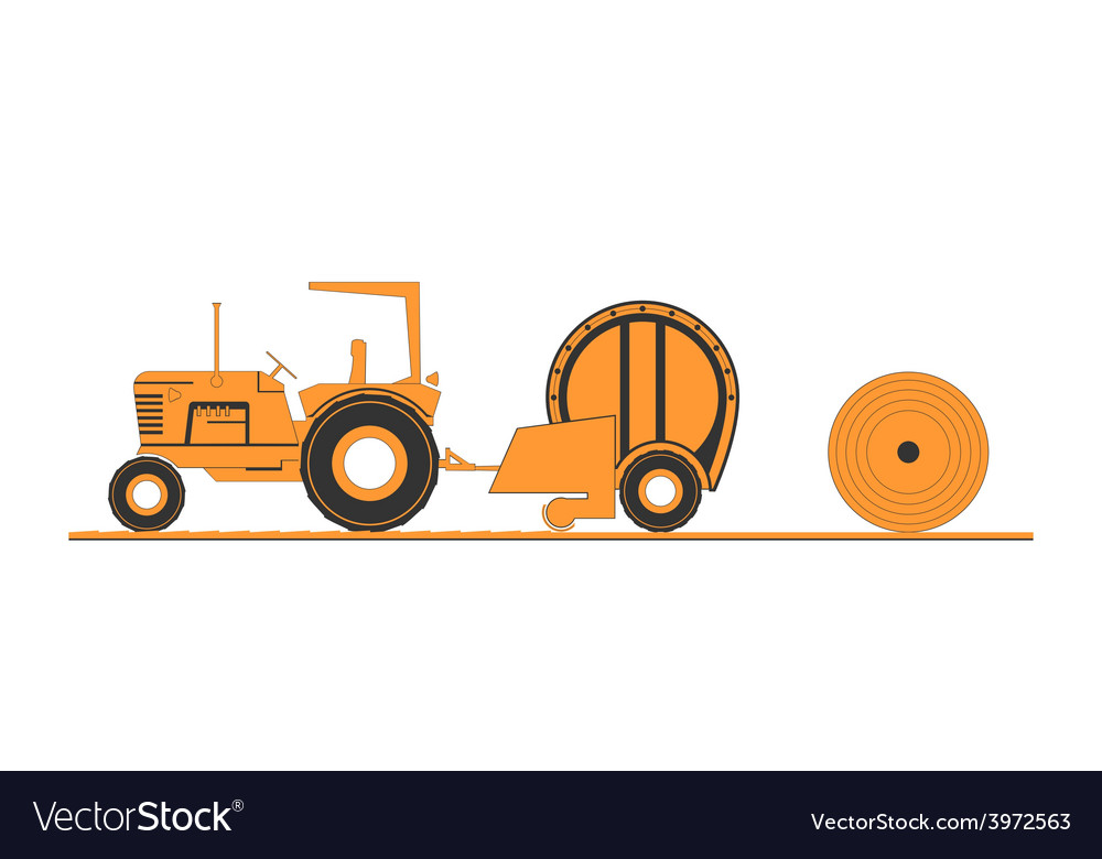 Farm tractor and round baler vector | Price: 1 Credit (USD $1)