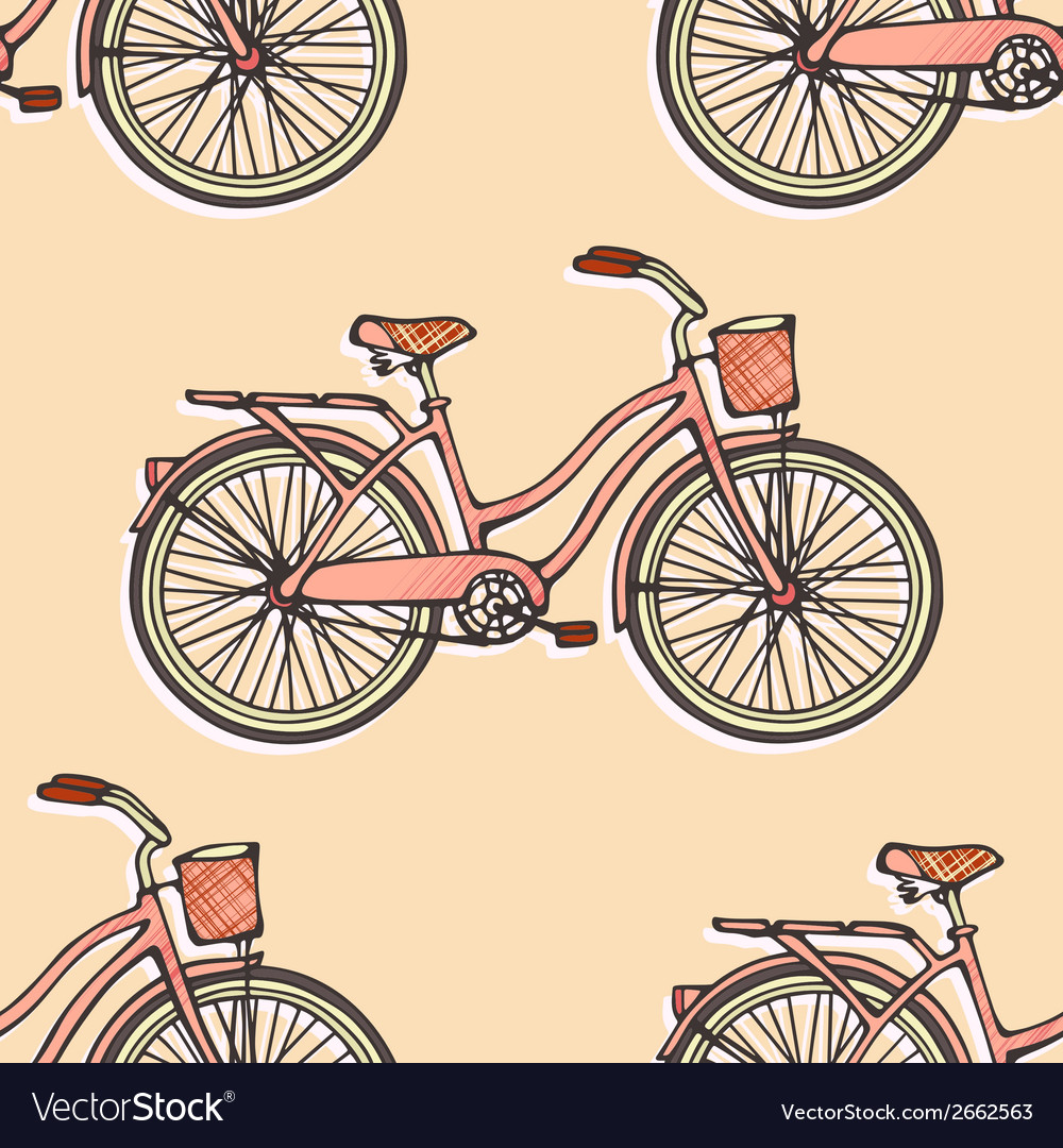 Seamless pattern with hand drawn vintage bicycles vector | Price: 1 Credit (USD $1)