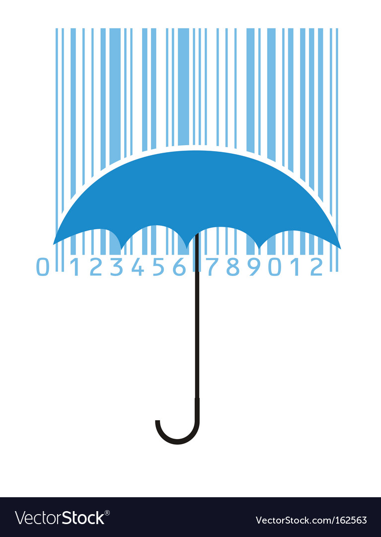 Stylized umbrella and barcode vector | Price: 1 Credit (USD $1)