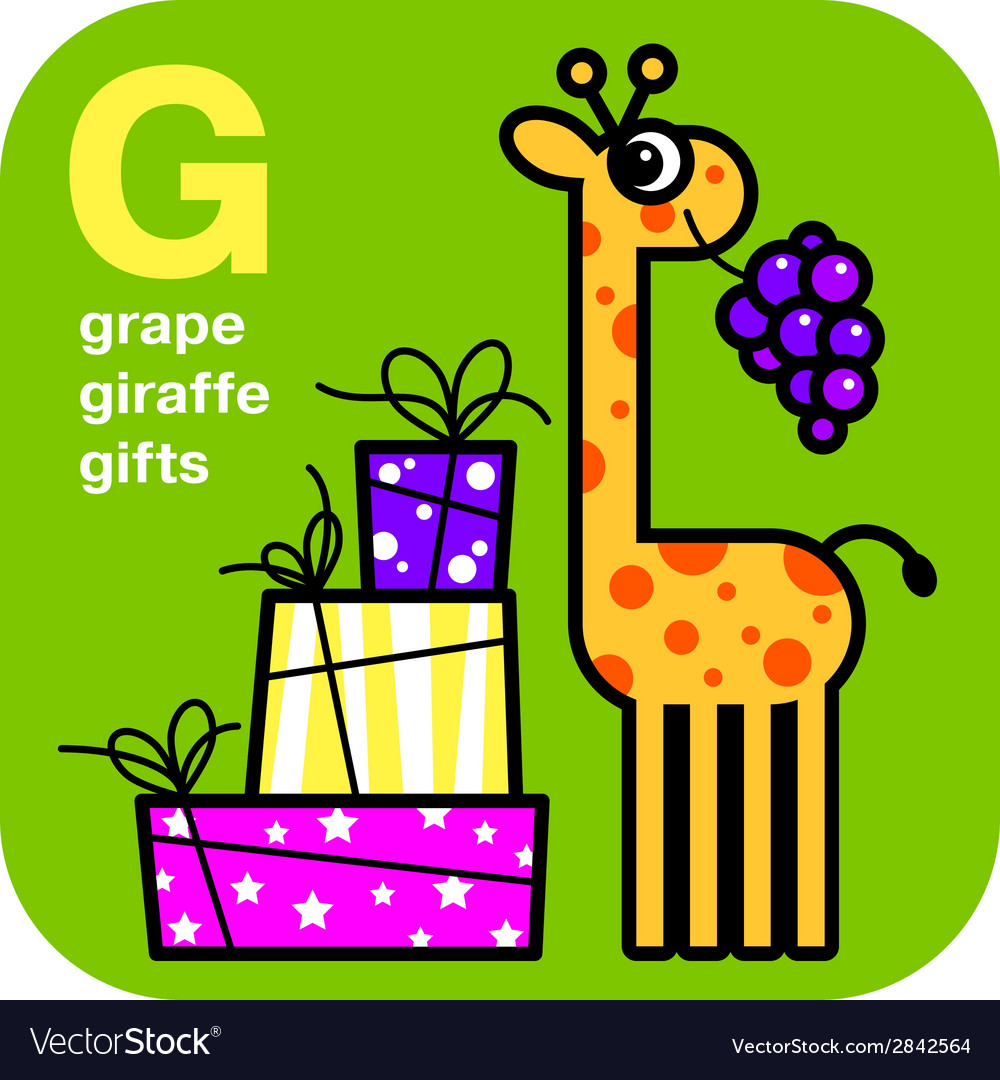 Abc grape giraffe gifts vector | Price: 1 Credit (USD $1)