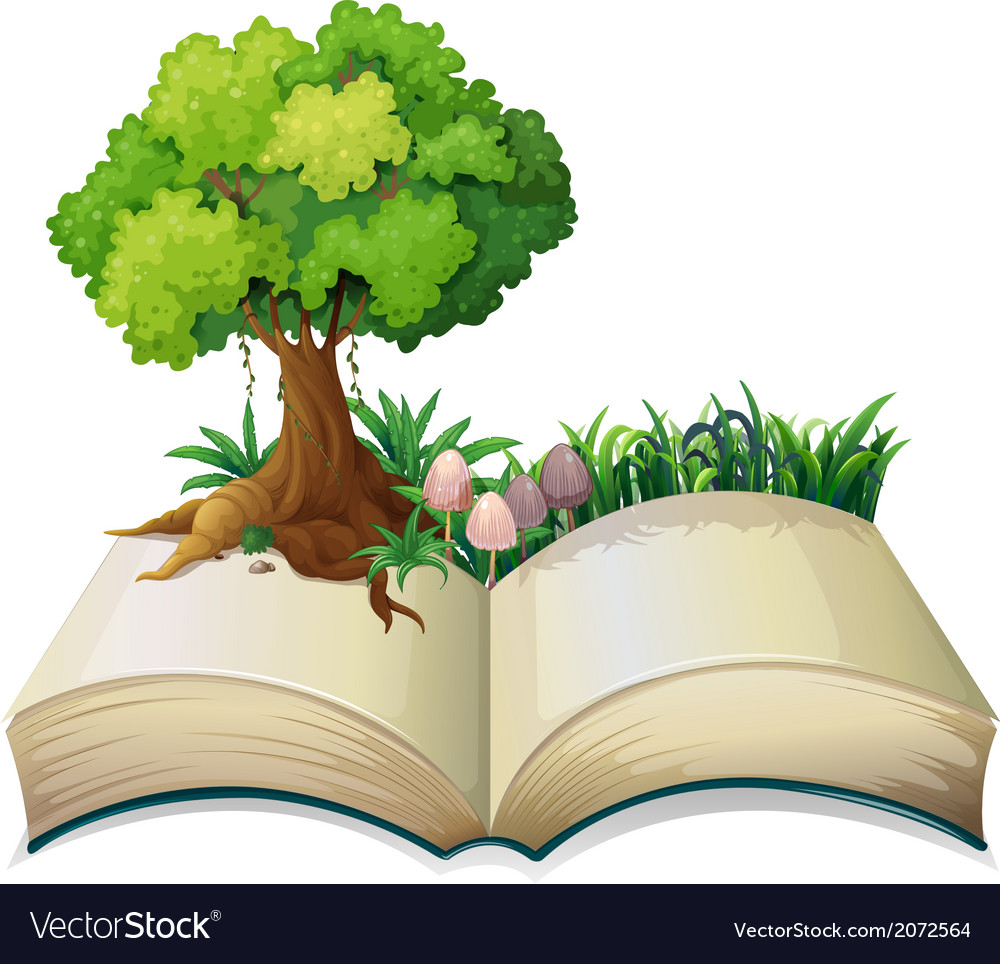 An open book with a tree vector | Price: 1 Credit (USD $1)