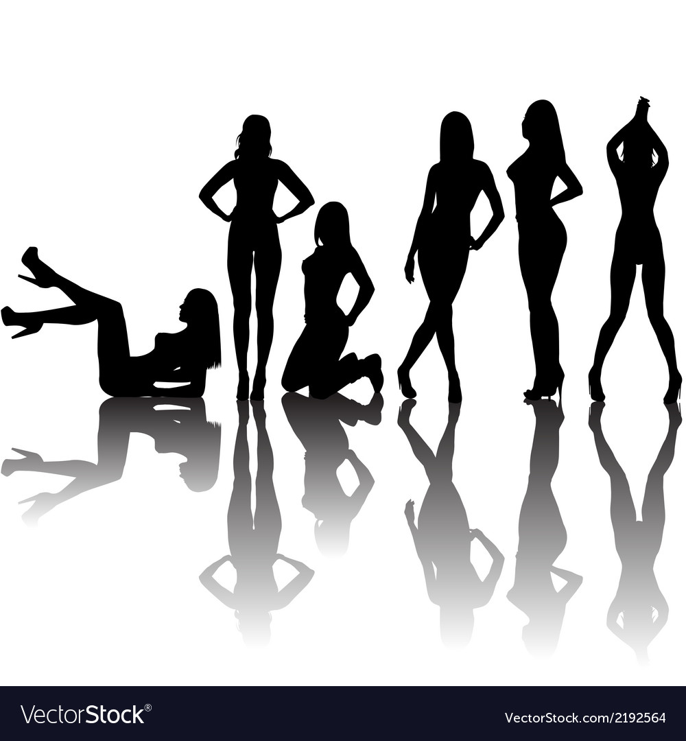 Black sexy women silhouettes with shadows vector | Price: 1 Credit (USD $1)