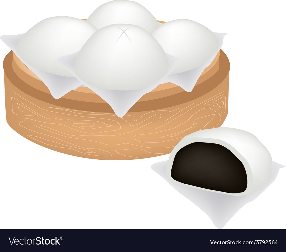 Chinese steamed bun and black bean stuff vector | Price: 1 Credit (USD $1)