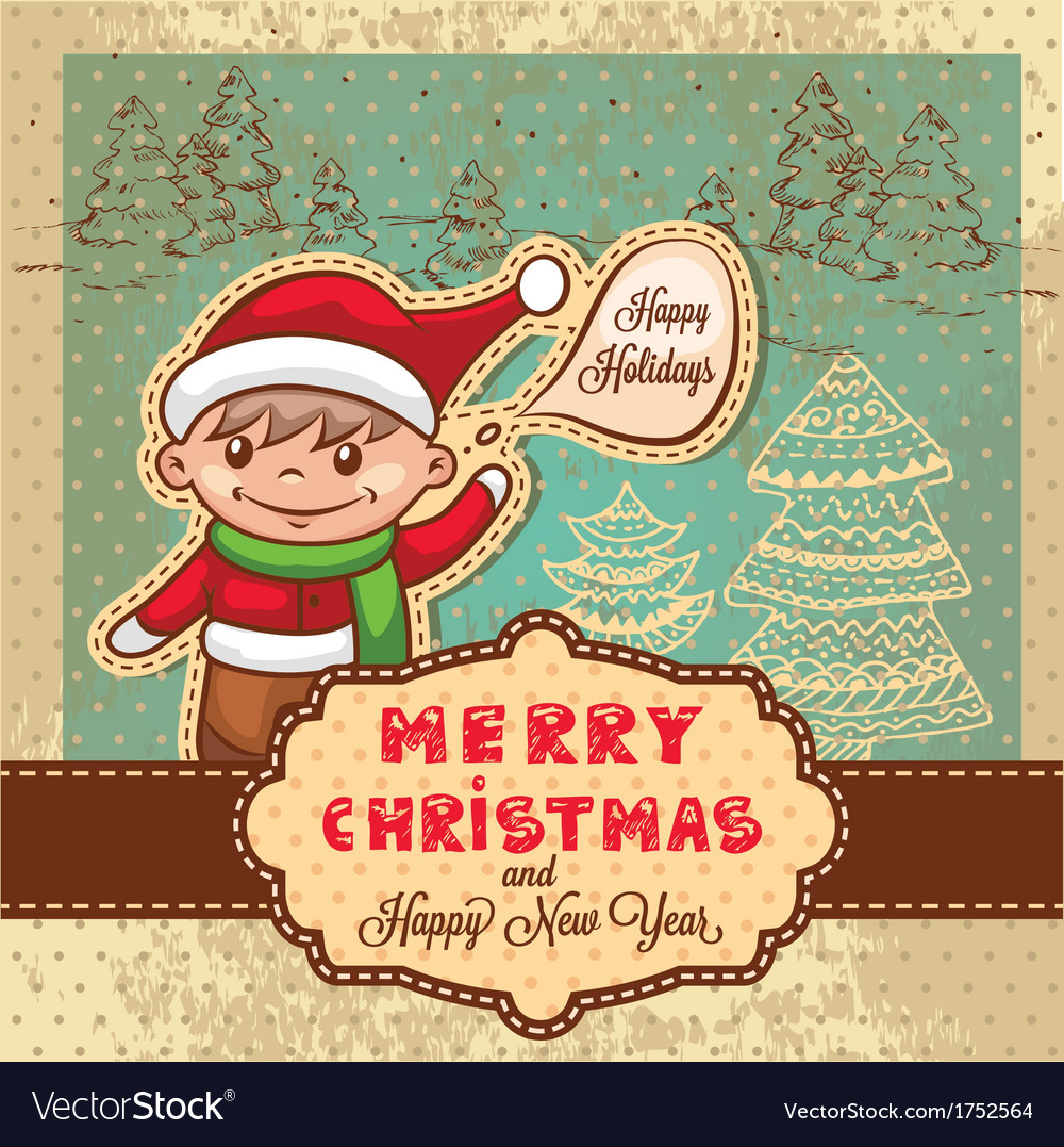 Christmas retro card vector | Price: 1 Credit (USD $1)