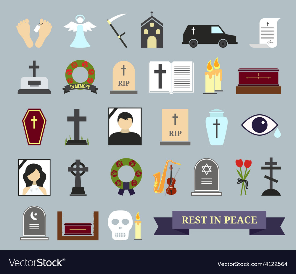 Death ritual and burial colored icons vector | Price: 1 Credit (USD $1)