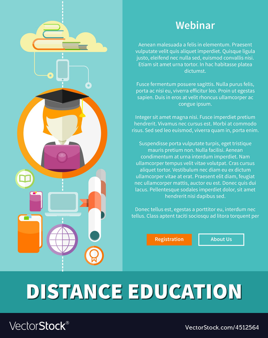 Distance education and learning concept vector | Price: 1 Credit (USD $1)