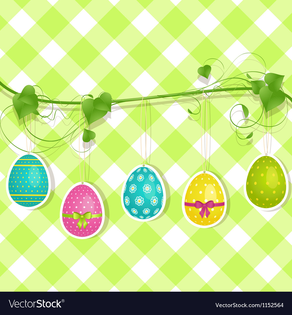 Hanging easter egg background on green vector | Price: 1 Credit (USD $1)