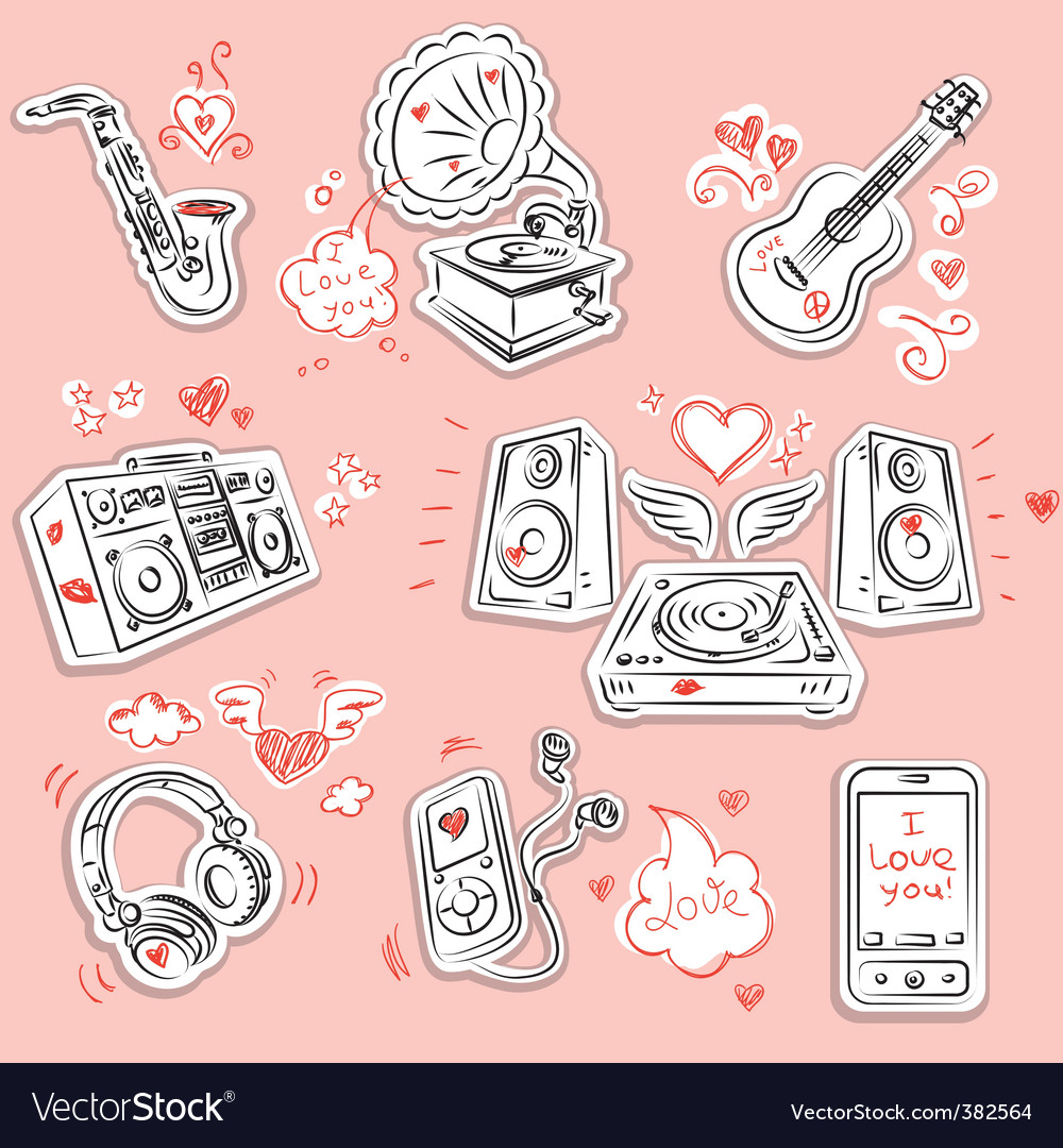 Love music and doodles vector | Price: 1 Credit (USD $1)