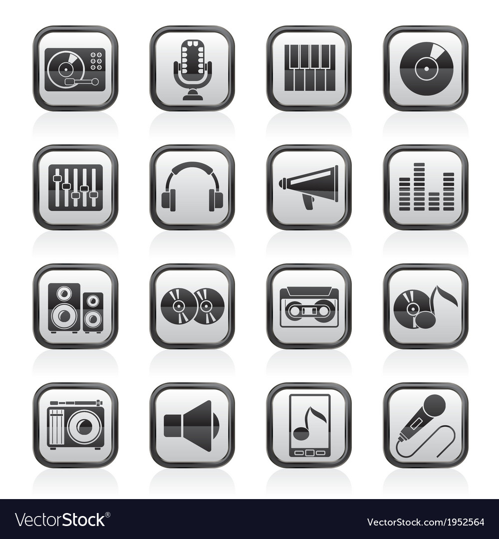Music and audio equipment icons vector | Price: 1 Credit (USD $1)