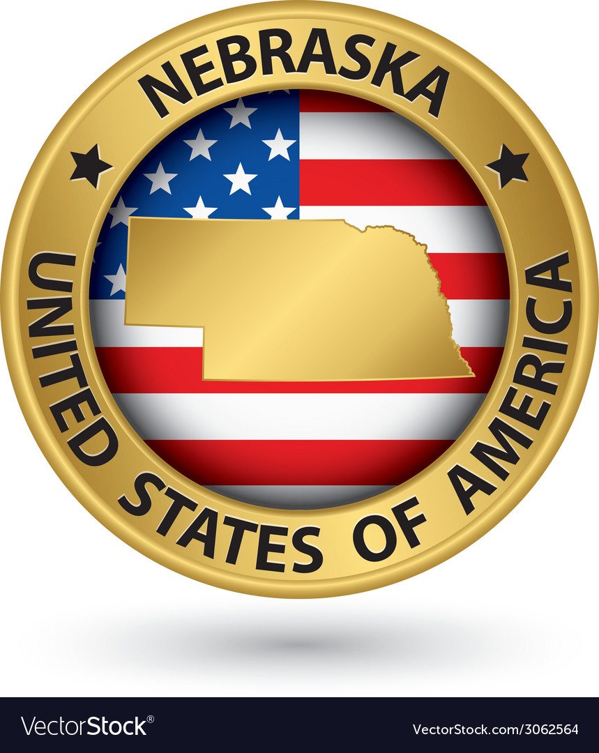 Nebraska state gold label with state map vector | Price: 1 Credit (USD $1)