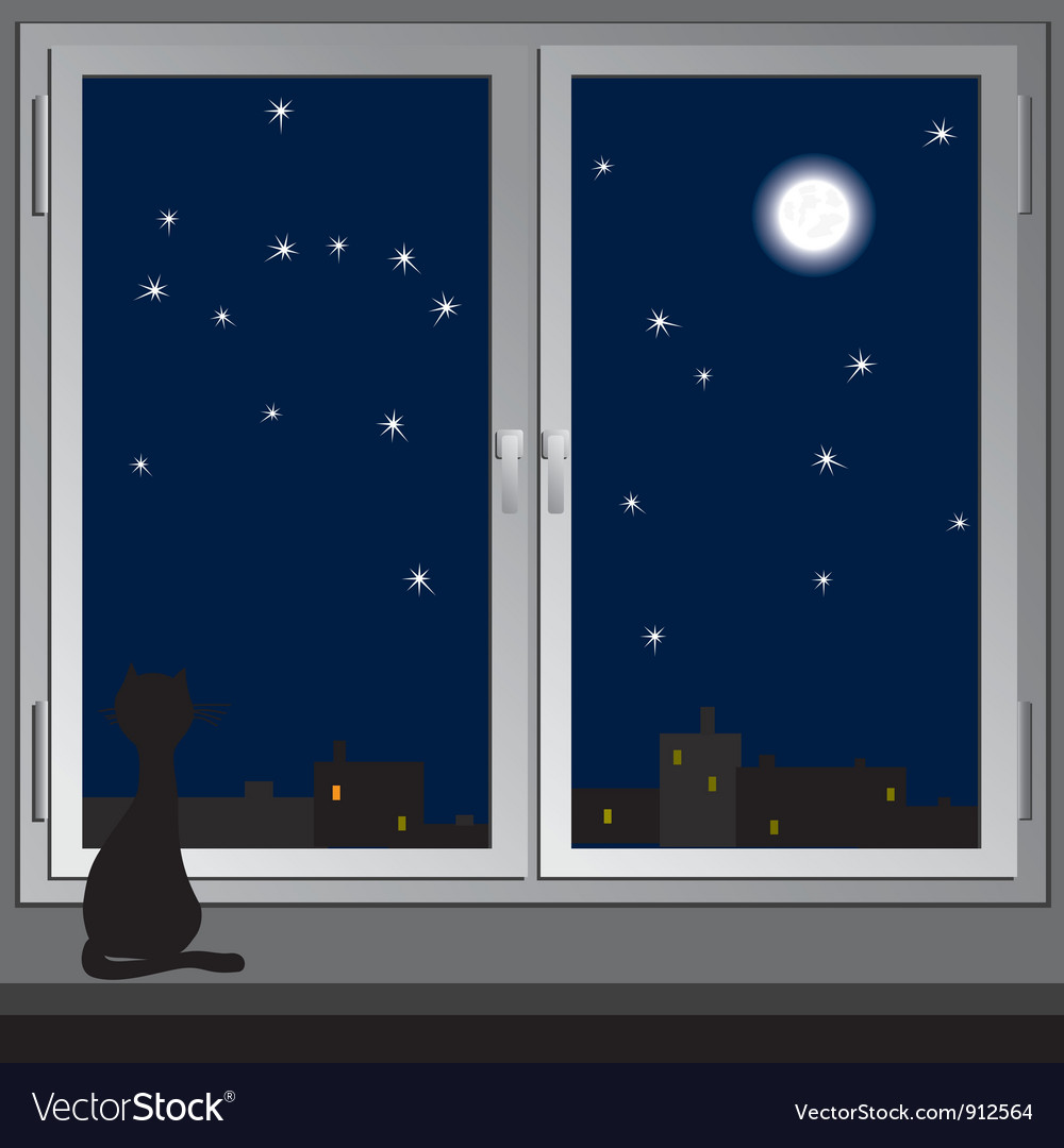Nightly window and cats vector | Price: 1 Credit (USD $1)