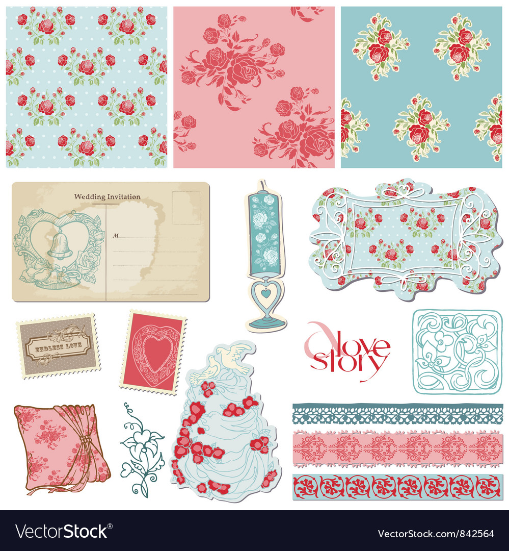 Scrapbook vintage wedding vector | Price: 1 Credit (USD $1)