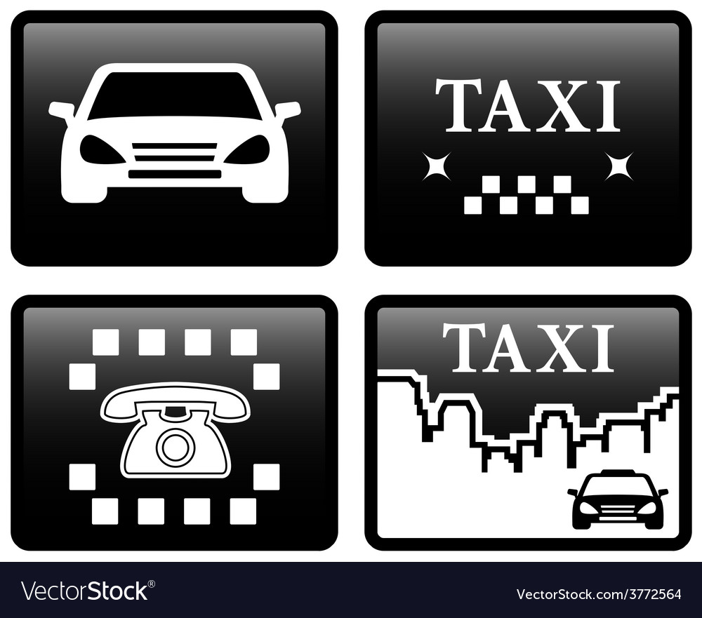 Set black taxi cab icons vector | Price: 1 Credit (USD $1)