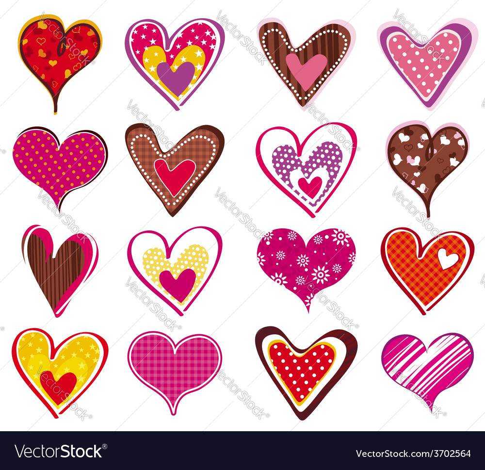 Sixteen lovely valentine heart vector | Price: 1 Credit (USD $1)