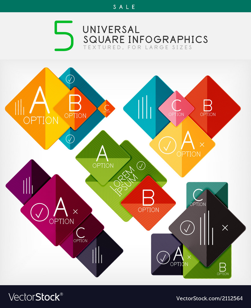 Square infographics option banners collection vector | Price: 1 Credit (USD $1)