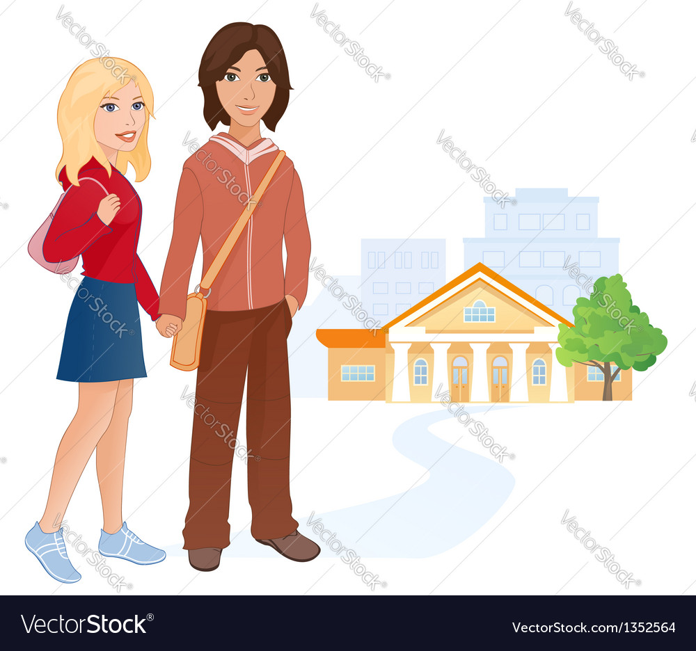 Students couple vector | Price: 3 Credit (USD $3)